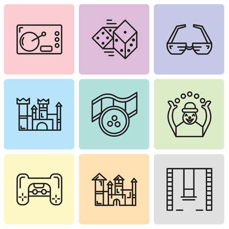 Set Of 9 simple editable icons such as Swings, Disneyland, Playstation, Monkey, Movie, Castle, 3d glasses, Dices, Coffee, can be used for mobile, web UI Illustration