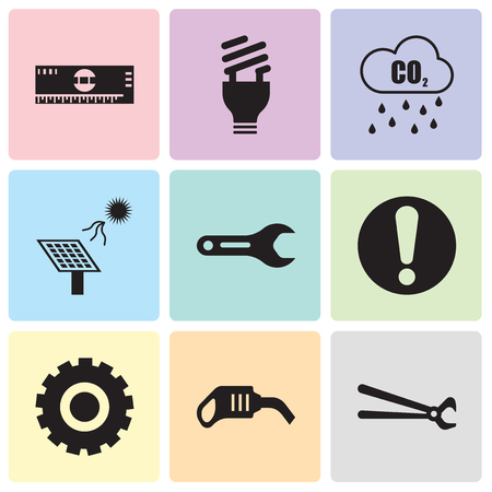 Set Of 9 simple editable icons such as nippers, pump, Setting, exclamation, pipe wrench, solar battery, Co2, lightbulb, scale, can be used for mobile, web UI