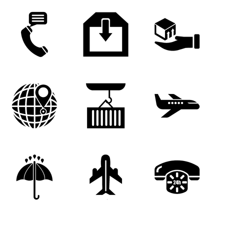 Set Of 9 simple editable icons such as 24 hours phone service, Airplane in vertical ascending position, Black opened umbrella, Air transport, Container hanging of a crane, International delivery Vector illustration.