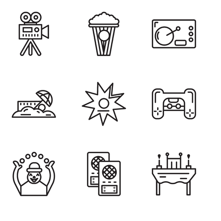 Set Of 9 simple editable icons such as Dinner, Loudspeaker, Monkey,  Walk of fame, Sand, Coffee, Popcorn, Video camera, can be used for mobile, web UI