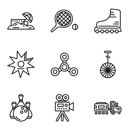 Set Of 9 simple editable icons such as Kid, Video camera, Bowling, Circus, Drone, Walk of fame, Rollers, Table tennis, Sand, can be used for mobile, web UI Illustration