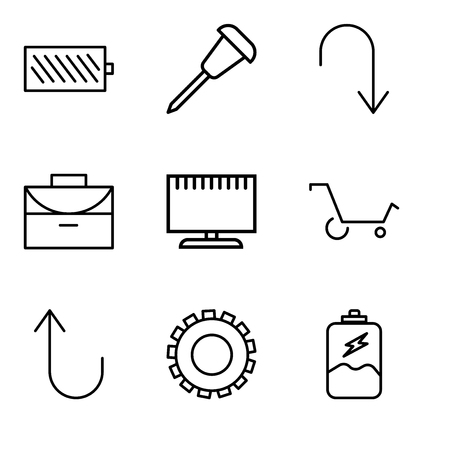 Set of 9 simple editable icons such as battery charging, gear, cancel button, shopping cart, television, office briefcase, arrow pointing to down, pushpin, battery level, can be used for mobile, web. Illustration