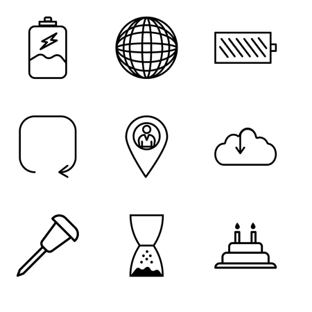 Set Of 9 simple editable icons such as Cake with candles, Hand pointing to left, Pushpin, Download from the cloud, Location pointer, Update arrow, Battery level, International globe, Battery Illusztráció