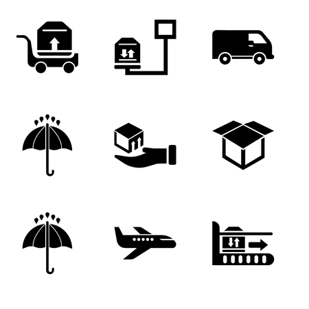 Set Of 9 simple editable icons such as Package on rolling transport, Air transport, 24 hours, Delivery package opened, Delivery box on a hand, Black opened umbrella, Black delivery small truck side