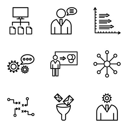 Set Of simple editable icons such as User interface, Mail Funneling, Strategy sketch, Balancing data, Person explaining data, 3d data analytics, Analytics, User data speech, Data flow, can be used