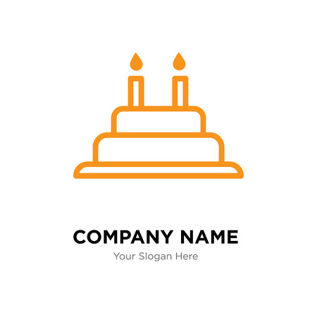 Cake with candles company logo design template, Business corporate vector icon