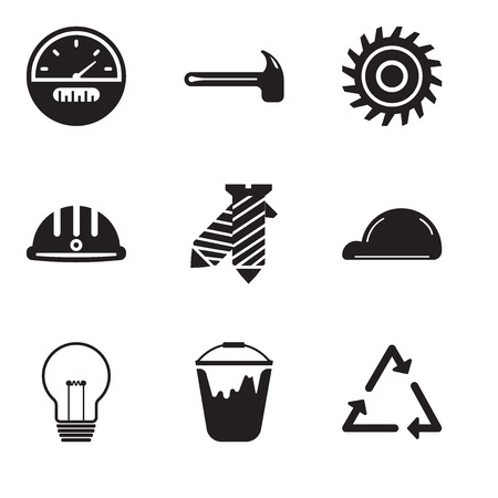 Set O simple editable icons such as triangle, colour bucket, bulb, helmet, tie, hard hat, saw blade, hammer, speedometer, can be used for mobile, web UI Ilustração