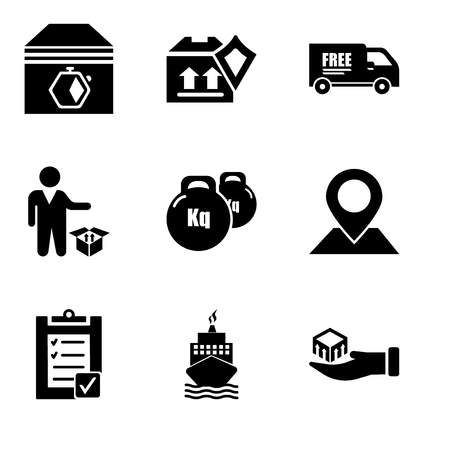 Set Of simple editable icons such as Package delivery in hand, Boat from front view, Verification of delivery list clipboard, Placeholder on map paper in perspective, Weight tool, Person standing