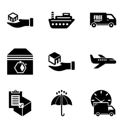 Set Of 9 simple editable icons such as Logistics delivery truck and clock, Black opened umbrella, Commercial delivery, Air transport, Delivery box on a hand, Up arrows couple, Free delivery truck, Иллюстрация