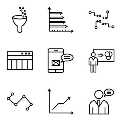 Set Of simple editable icons such as User data speech, Data analytics descending, Nodes connections interface, Person explaining data, Data analytics bars, Table for data, Strategy sketch,