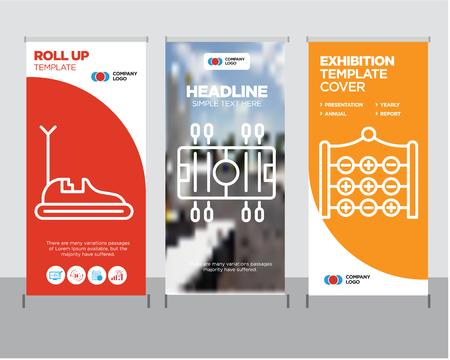 Tic tac toe modern business roll up banner design Çizim
