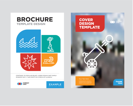 Cannon brochure flyer design template with abstract photo background. Trend business corporate roll up or annual report.