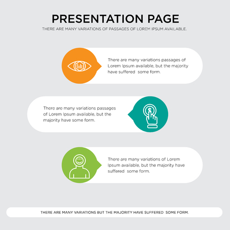 Astronaut, click, analytic view presentation design template in orange, green, yellow colors with horizontal and rounded shapes