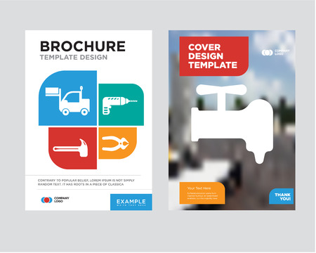 crane brochure flyer design template with abstract photo background, nipper, drill, hammer, lorry minimalist trend business corporate roll up or annual report Vettoriali