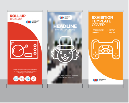 Playstation modern business roll up banner design template, Clown creative poster stand or brochure concept, Coffee cover publication Illustration