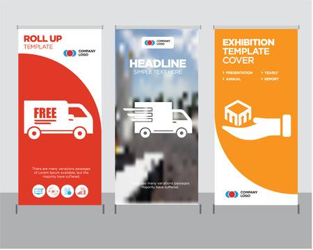 Dostawa paczek w ręku nowoczesny biznes roll up szablon projektu transparentu, logistyczna ciężarówka dostawcza w ruchu kreatywny stojak na plakat lub koncepcja broszury, bezpłatna publikacja na okładce ciężarówki dostawczej Ilustracje wektorowe