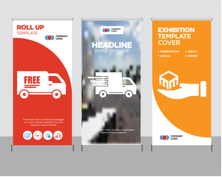 Package delivery in hand modern business roll up banner design template, Logistics delivery truck in movement creative poster stand or brochure concept, Free delivery truck cover publication