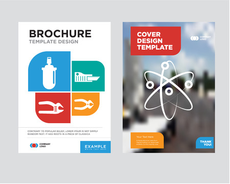 Chemical brochure flyer design template with abstract photo background, nipper, cutter, adjustable spanner, gas can minimalist trend business corporate roll up or annual report Vettoriali