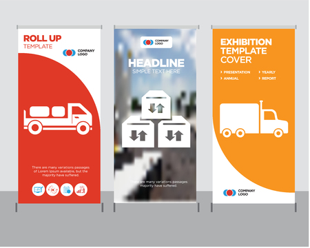 Frontal truck modern business roll up banner design template, Three sto boxes for delivery creative poster stand or brochure concept, Delivery truck with packages behind cover publication