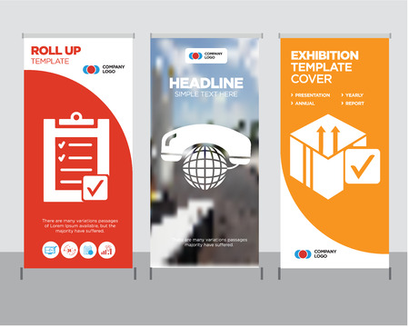 Delive box verification modern business roll up banner design template, International calling service creative poster stand or brochure concept, Verification of delivery list clipboard cover