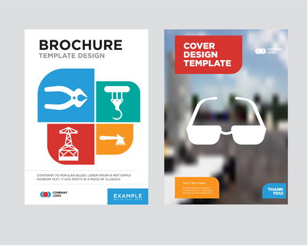 sunglasses brochure flyer design template with abstract photo background, hatchet, crane, oil derrick, nipper minimalist trend business corporate roll up or annual report