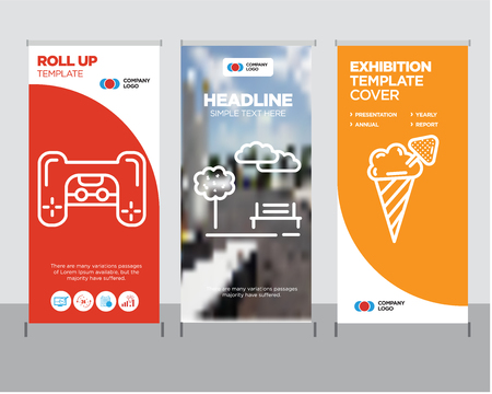 Ice cream modern business roll up banner design template, Park creative poster stand or brochure concept, Playstation cover publication Illustration
