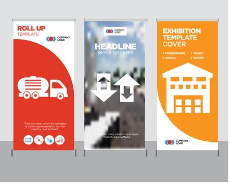 ボックスは、配信現代のビジネスロールアップバナーデザインテンプレート、上矢印カップル創造的なポスタースタンドやパンフレットのコンセプ