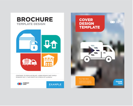 Logistics truck brochure flyer design template with abstract photo background, Boxes piles sto inside a garage for delivery, Up arrows couple, Delivery truck, Locked package minimalist trend business