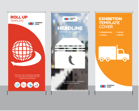 Frontal truck modern business roll up banner design template, Box of packing for delivery creative poster stand or brochure concept, International delivery business cover publication