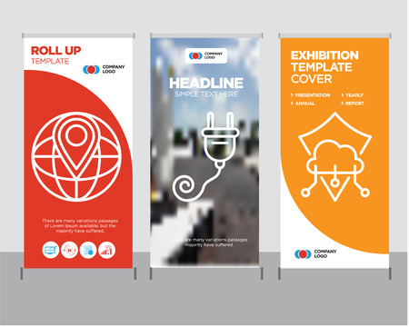 Protection modern business roll up banner design template, Plug creative poster stand or brochure concept, World placeholder cover publication  イラスト・ベクター素材