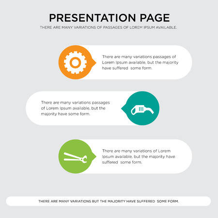 Setting presentation design template in orange, green, yellow colors with horizontal and rounded shapes