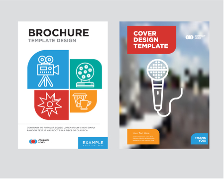 Microphone brochure flyer design template with abstract photo background, Coffee, Magic ball, Walk of fame, Video camera minimalist trend business corporate roll up or annual report