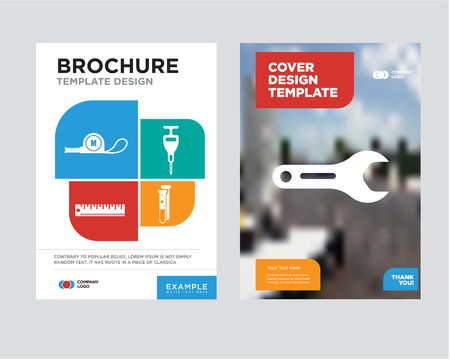 pipe wrench brochure flyer design template with abstract photo background, capsule, puncher, ruler, meter minimalist trend business corporate roll up or annual report Stock Illustratie