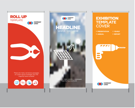 Icon of drill modern business roll up banner design template, solar battery creative poster stand or brochure concept, nipper cover publication. Archivio Fotografico - 99852553