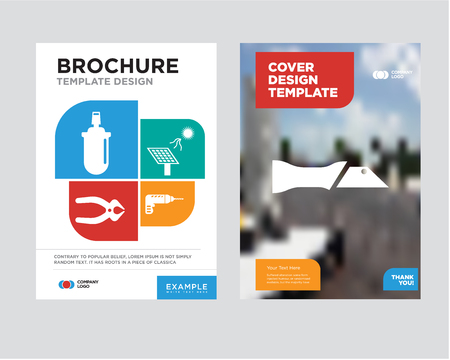 knife brochure design template with abstract photo, drill, solar battery, nipper, gas can minimalist trend business corporate roll up or annual report.
