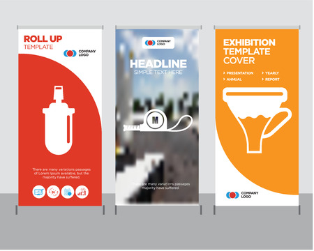 Modern business roll up banner design template with funnel, meter and other related icons