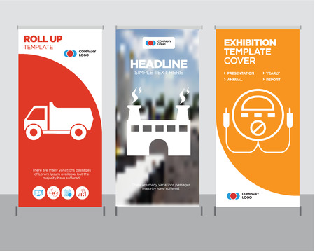 energy check modern business roll up banner design template, factory creative poster stand or brochure concept, truck cover publication