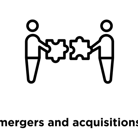 mergers and acquisitions icon isolated on white background, vector illustration