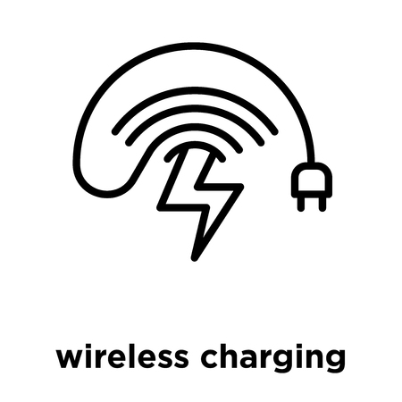 wireless charging icon isolated on white background, vector illustration
