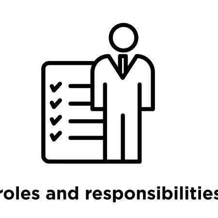 Icono de roles y responsabilidades aislado sobre fondo blanco, ilustración vectorial