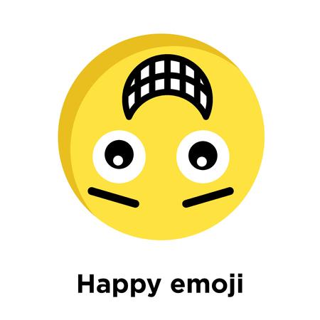 Happy emoji icon isolated on white background, vector illustration