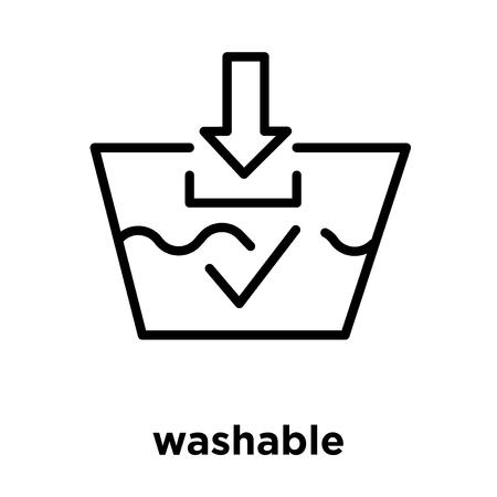 waschbares Symbol lokalisiert auf weißem Hintergrund, Vektorillustration