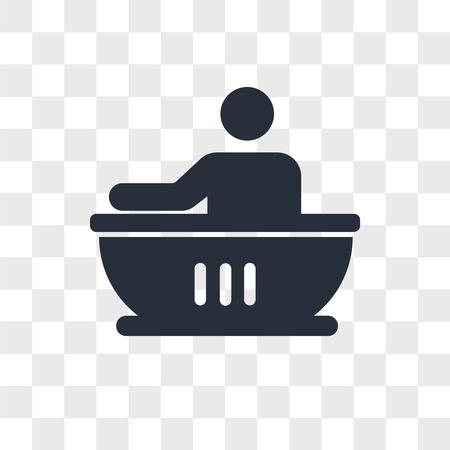 Man having a bath vector icon isolated on transparent background, Man having a bath logo concept