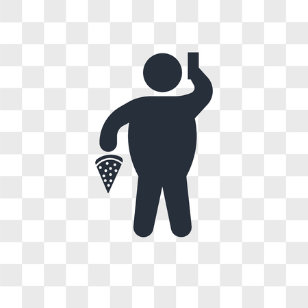 Fat Man With Pizza and Telephone vector icon isolated on transparent background, Fat Man With Pizza and Telephone logo concept