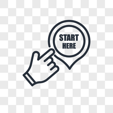 start here vector icon isolated on transparent background, start here logo concept