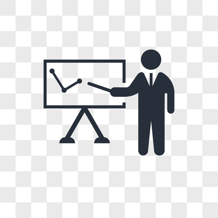Business presentation vector icon isolated on transparent background, Business presentation logo concept