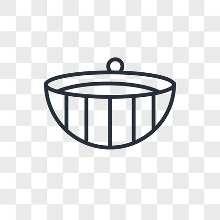 Spa wooden bowl vector icon isolated on transparent background, Spa wooden bowl logo concept Çizim