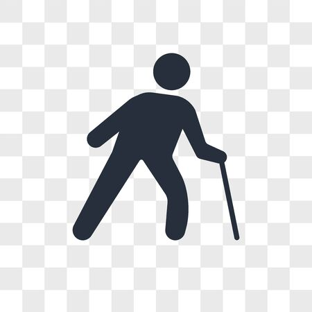 Old Man with a Cane vector icon isolated on transparent background, Old Man with a Cane logo concept