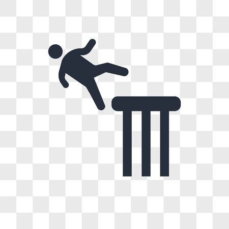 Falling man vector icon isolated on transparent background, Falling man logo concept Illustration