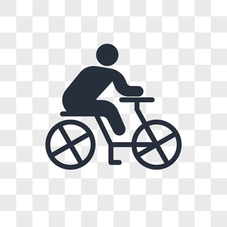 Cyclist vector icon isolated on transparent background, Cyclist logo concept